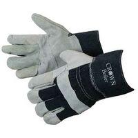 Split Cowhide Work Gloves w/ Denim Cuff & Reinforced Palm Patch