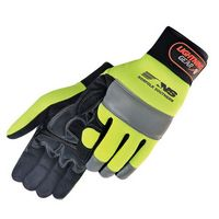 Premium Hi-Vis Simulated Leather Reinforced Palm Mechanic Gloves