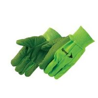 Double Palm Canvas Work Gloves w/ Black PVC Dots Green