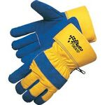 Custom Blue Thermo Pile Lined Split Cowhide Work Gloves