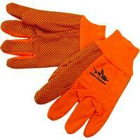 Double Palm Canvas Work Gloves w/ Black PVC Dots Orange