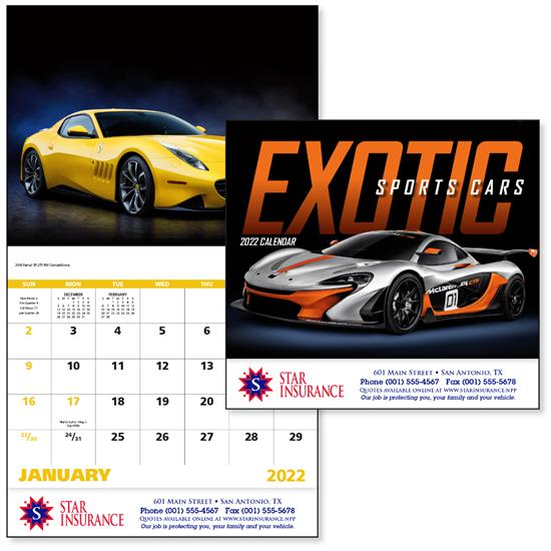 GoodValue Exotic Sports Cars Calendar (Stapled), #7281, 1 Colour Imprint