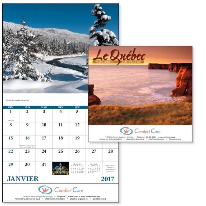 GoodValue Le Quebec Panoramique Calendar (Stapled), #7208, 1 Colour Imprint