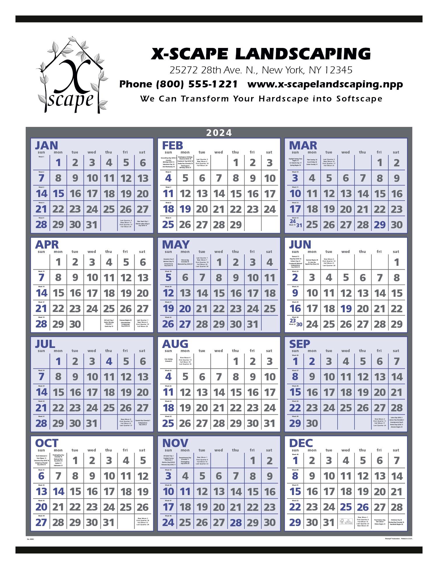 Triumph Span-A-Year Calendar (Blue & Gray), #6206, 1 Colour Imprint