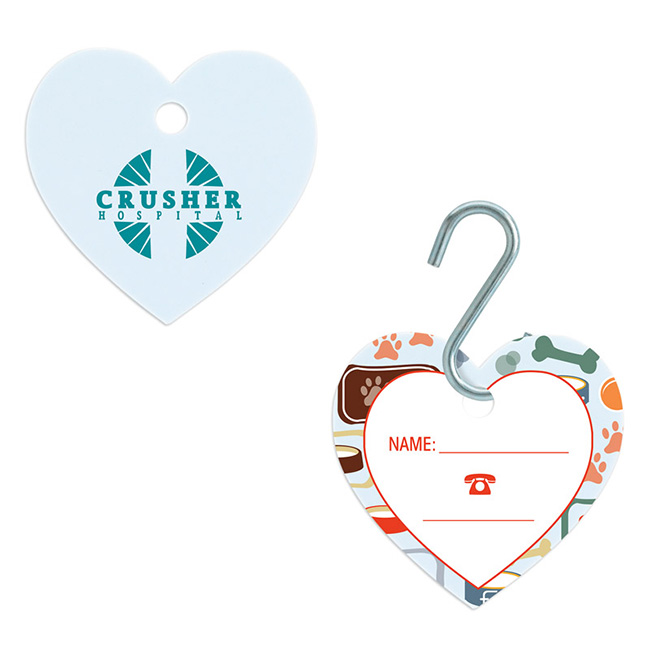 Small Heart Pet ID Tag - Full Colour Imprint