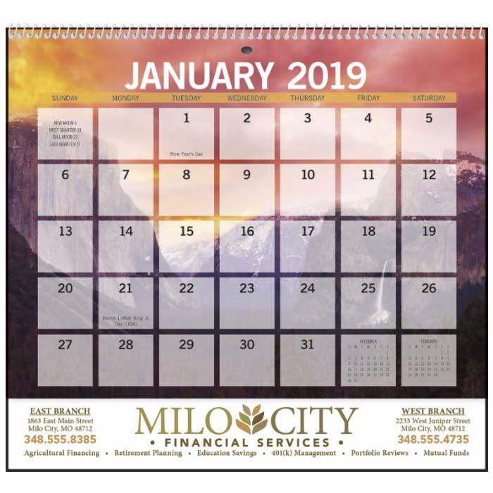 GoodValue Scenic Small Memo 2020 Calendar, #7600, 1 Colour Imprint