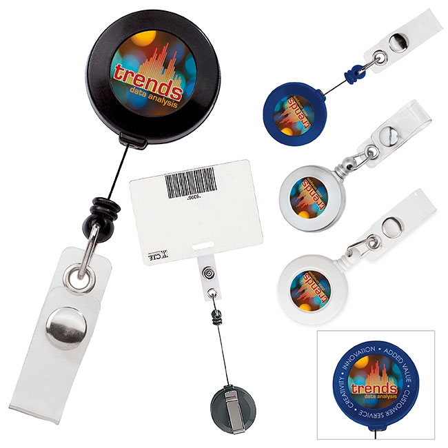 Retractable Badge Holder w/ Slide Clip - Full Colour Imprint