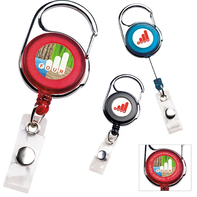 Carabiner Retractable Badge Holder - 1 Colour Imprint