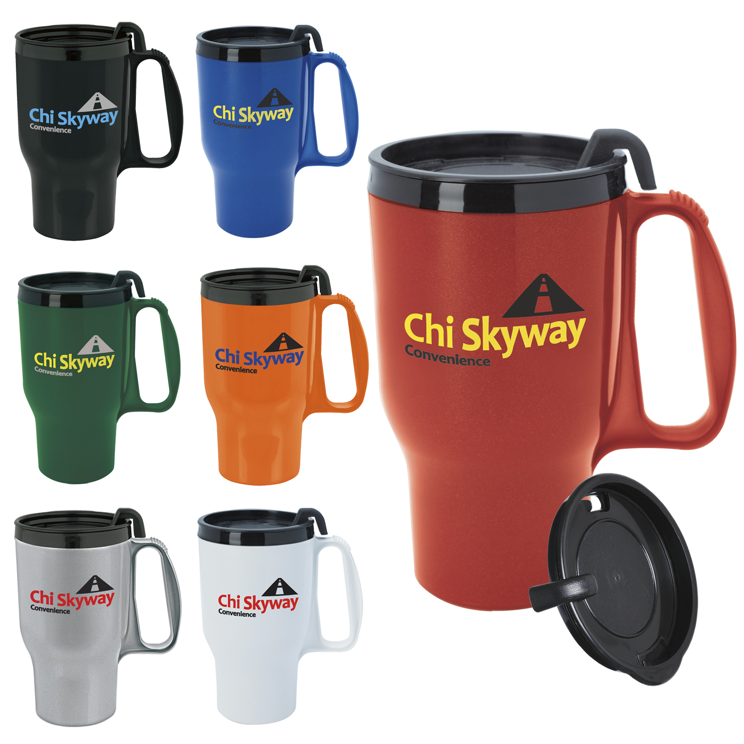 16 Oz. Budget Traveler Mug w/ Slider Lid - 1 Colour Imprint