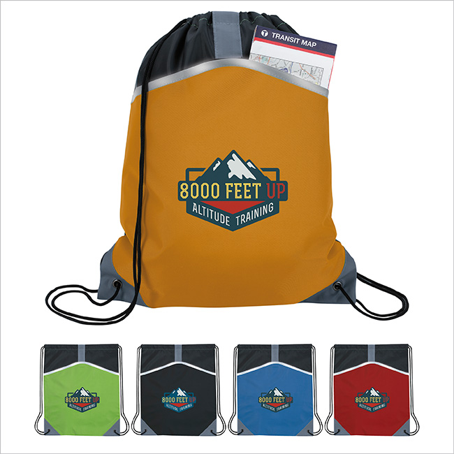 Atchison Safety Drawstring Backpack, #AP5006, 1 Colour Imprint
