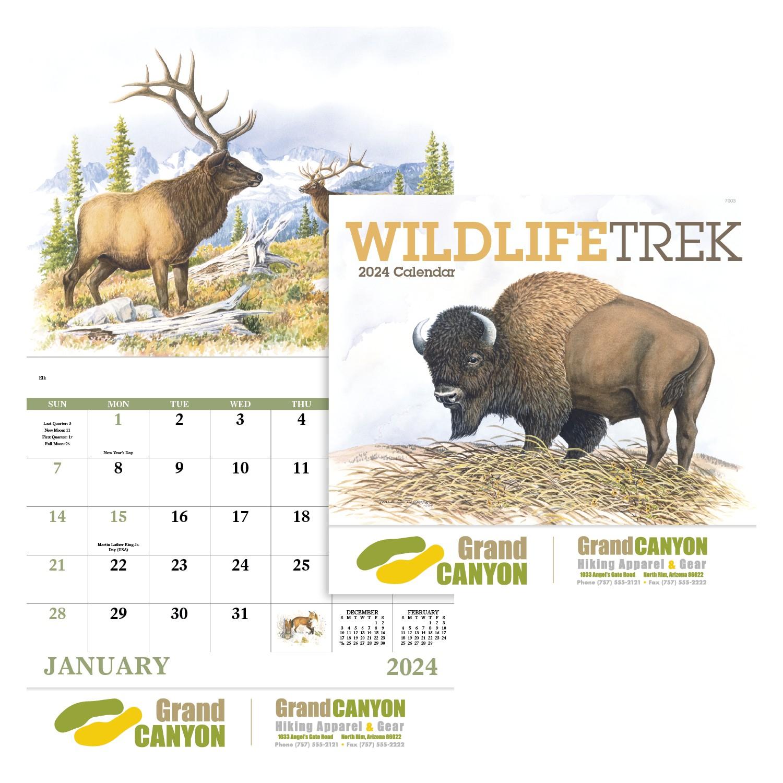 GoodValue Wildlife Trek Calendar (Stapled), #7203, 1 Colour Imprint