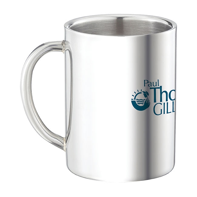 9 Oz. Double Wall Stainless Steel Mug - 1 Colour Imprint