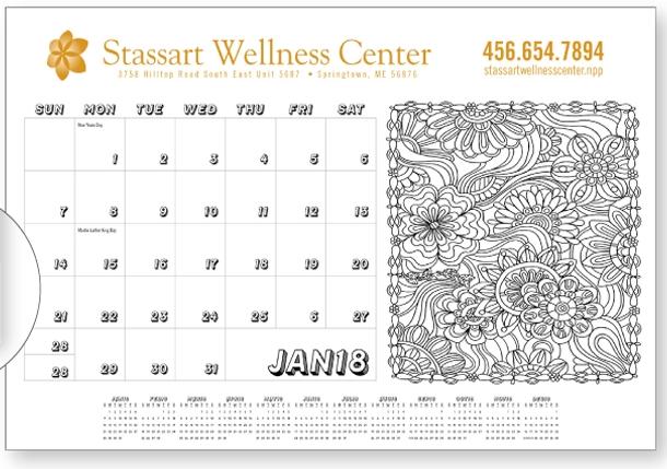 Triumph Adult Coloring Book Desk Pad Calendar, #6511, 1 Colour Imprint