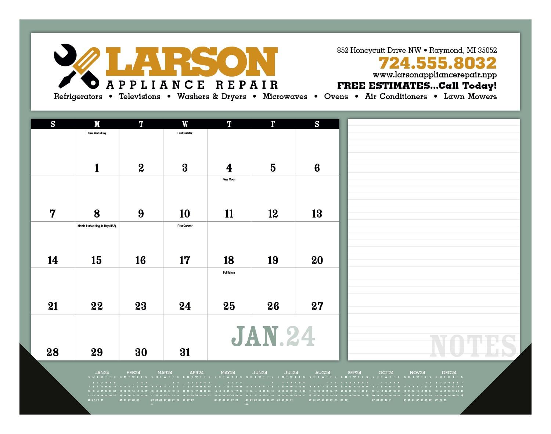 Triumph Notes Desk Pad Calendar w/ Vinyl Corners, #6525, 1 Colour Imprint