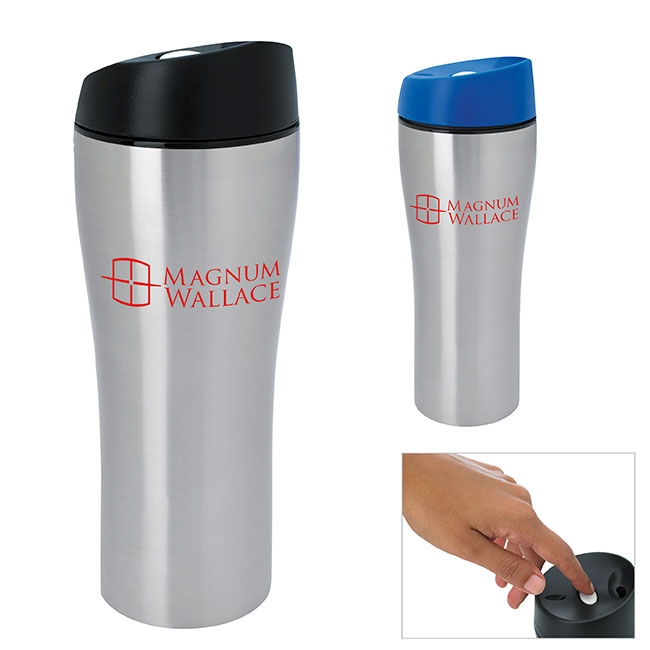 Stainless Steel Tumbler w/Press Button Lid (15 Oz.) - 1 Colour Imprint