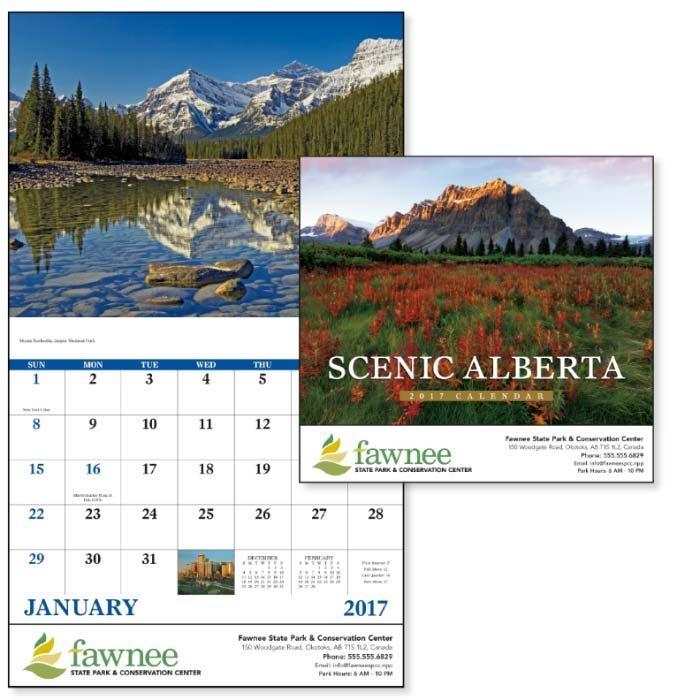 GoodValue Scenic Alberta Calendar (Stapled), #7314, 1 Colour Imprint