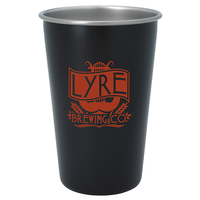 16 Oz. Stainless Pint Glass - Color - 1 Colour Imprint