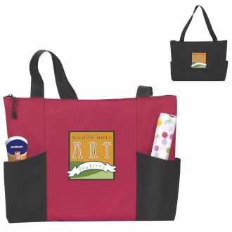 Atchison Double Pocket Zippered Tote - 1 Colour Imprint