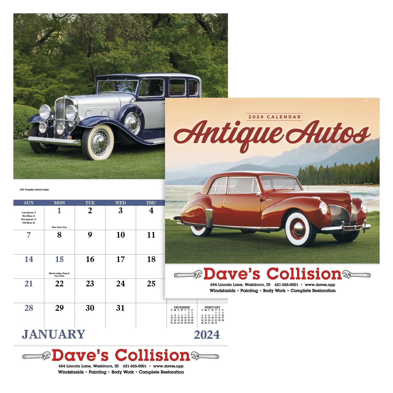 GoodValue Antique Autos Calendar (Stapled), #7257, 1 Colour Imprint