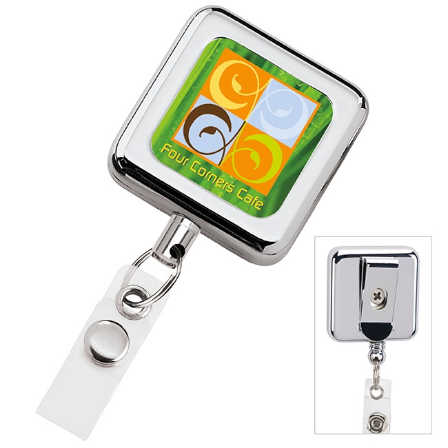 Square Metal Retractable Badge Holder - Full Colour Imprint