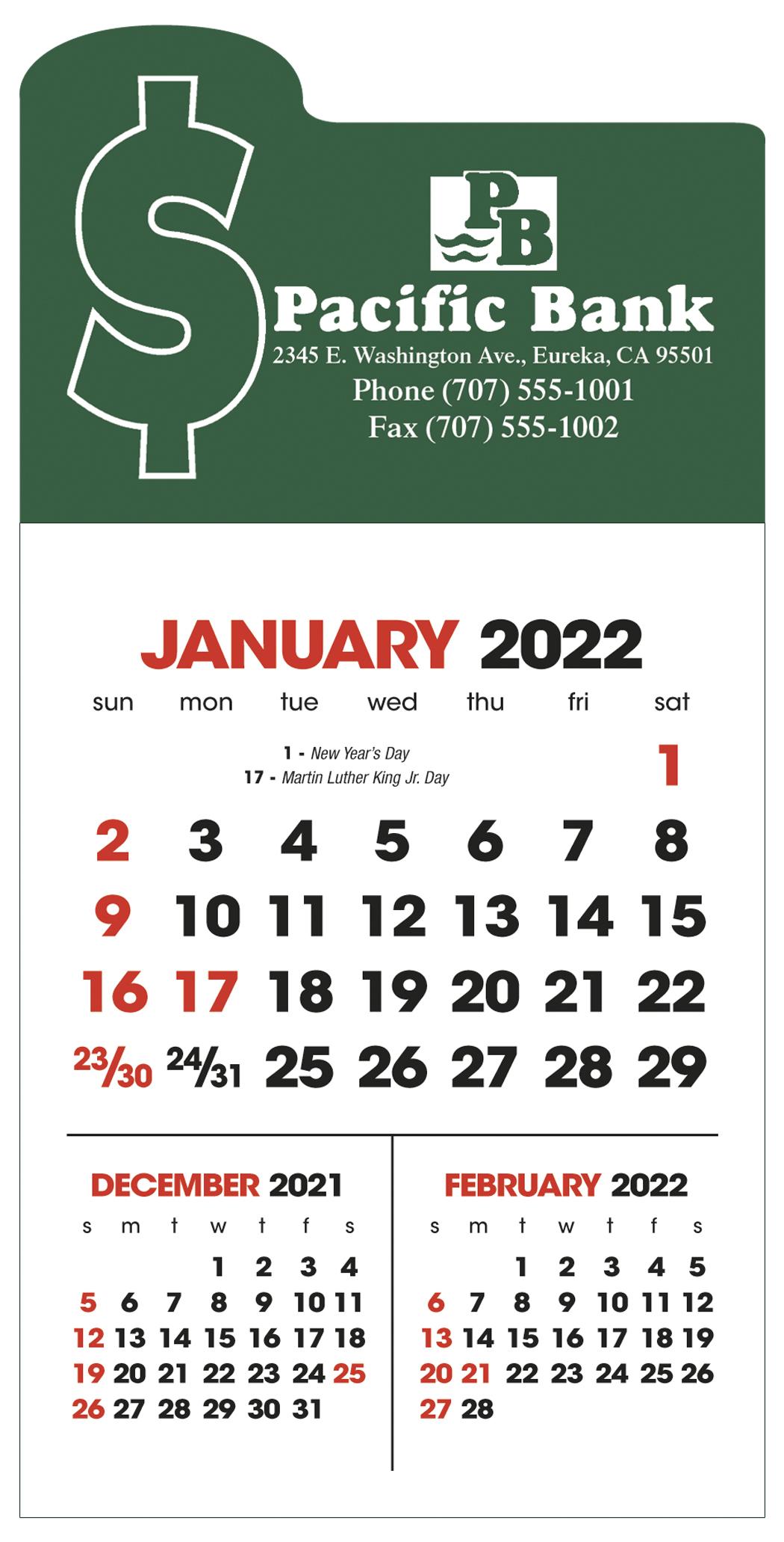 Triumph 3-Month View Stick Up Grid Calendar, #5320, 1 Colour Imprint
