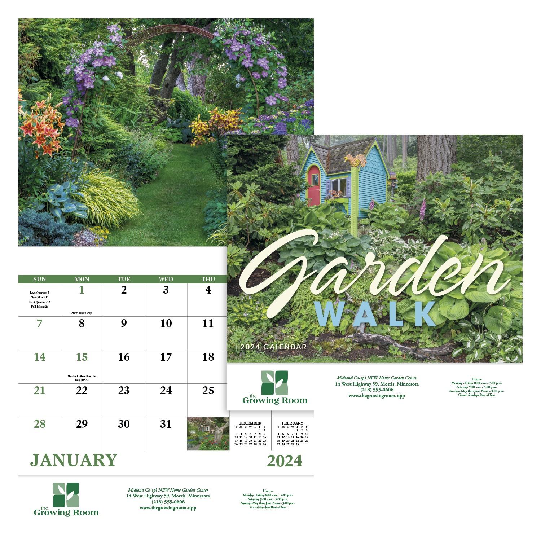 GoodValue Garden Walk Calendar (Stapled), #7277, 1 Colour Imprint