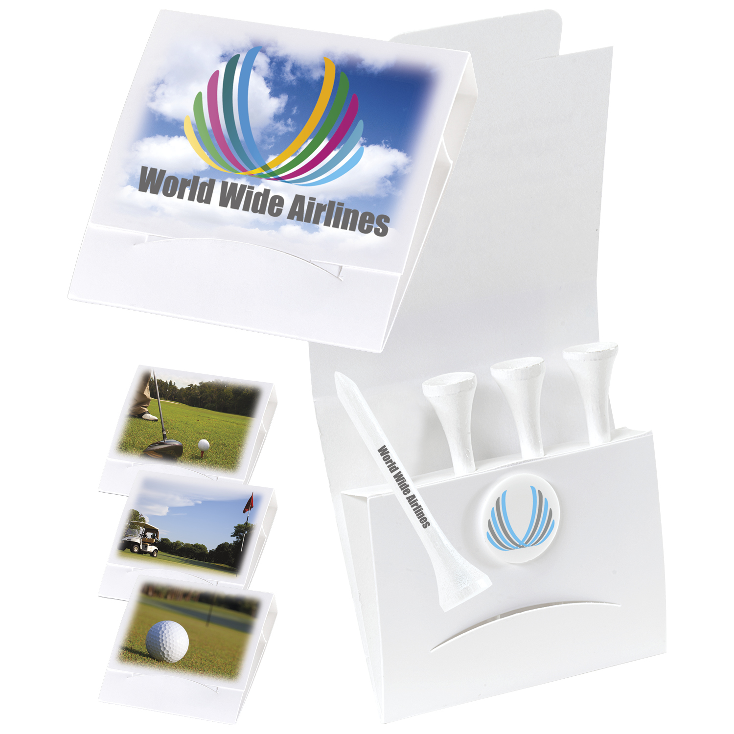 4-1 Golf Tee Packet with Ball Marker & 3 1/4