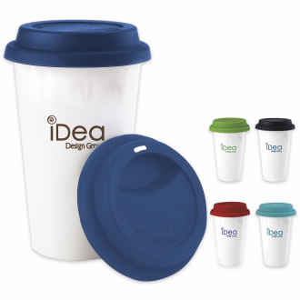 11 Oz. Double Wall Ceramic Tumbler w/ Lid - 1 Colour Imprint, #45850