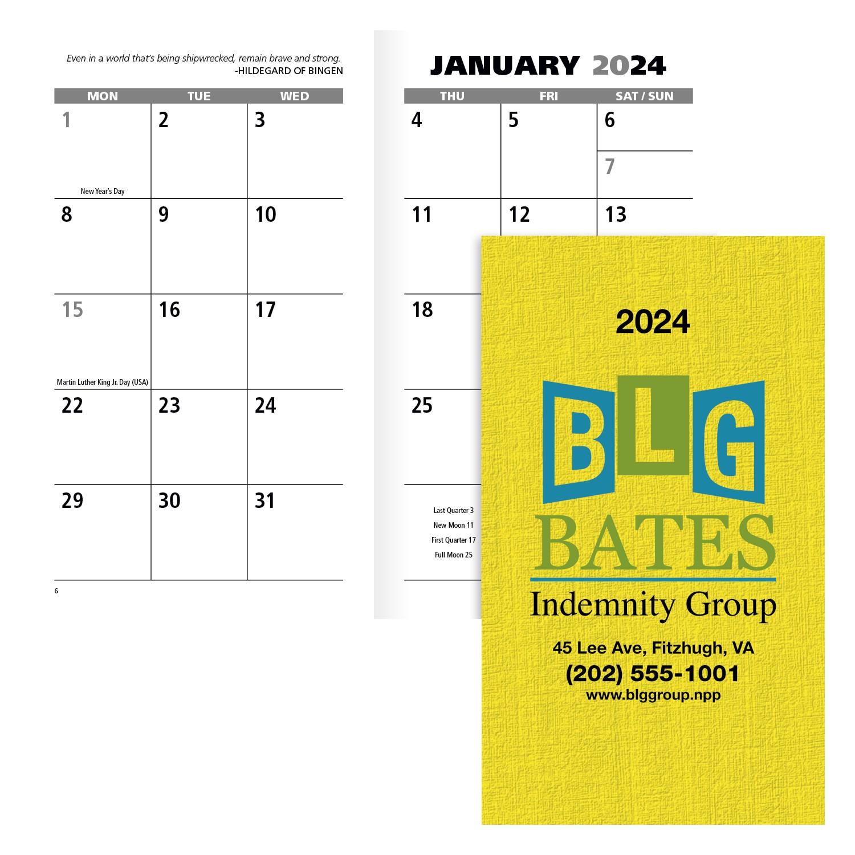 GoodValue Value Monthly Pocket Planner Calendar, #7990, Full Colour Imprint