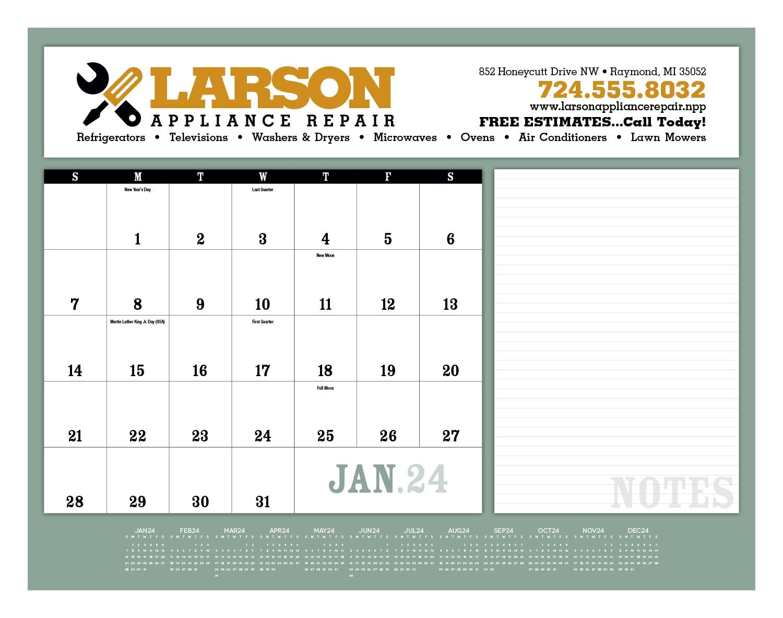 Triumph Notes Desk Pad Calendar, #6515, 1 Colour Imprint
