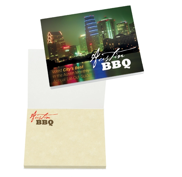 BIC Booklet Cover w/50 Sheet Adhesive Notepad, #PB4A3A50, Full Colour Imprint