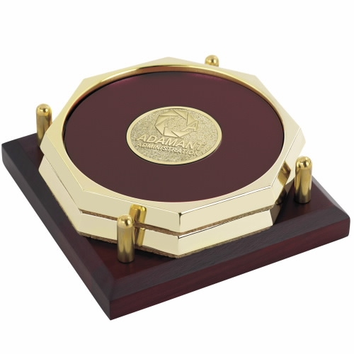 Jaffa 2 Octagon Coasters w/ Solid Cherry Tray - Laser Engraved Imprint, #36852