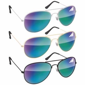Metal Aviator Mirror Sunglasses, #26108, 1 Colour Imprint