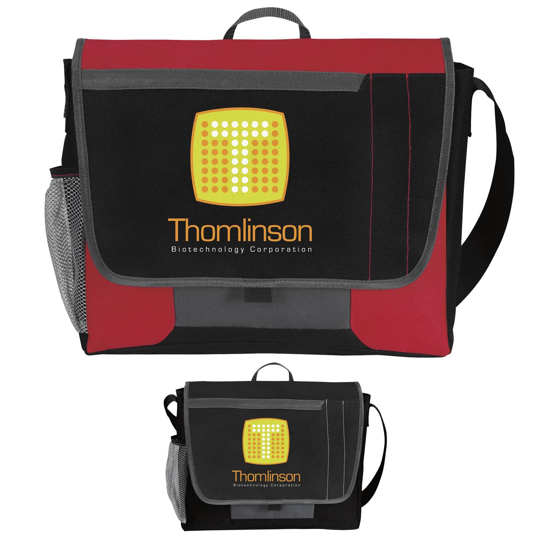 Atchison Tri-Pocket Flap Messenger Bag - 1 Colour Imprint