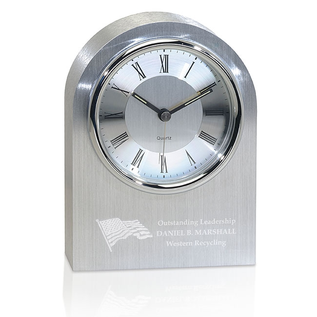 Jaffa Silver Arch Clock - Laser Engraved Imprint