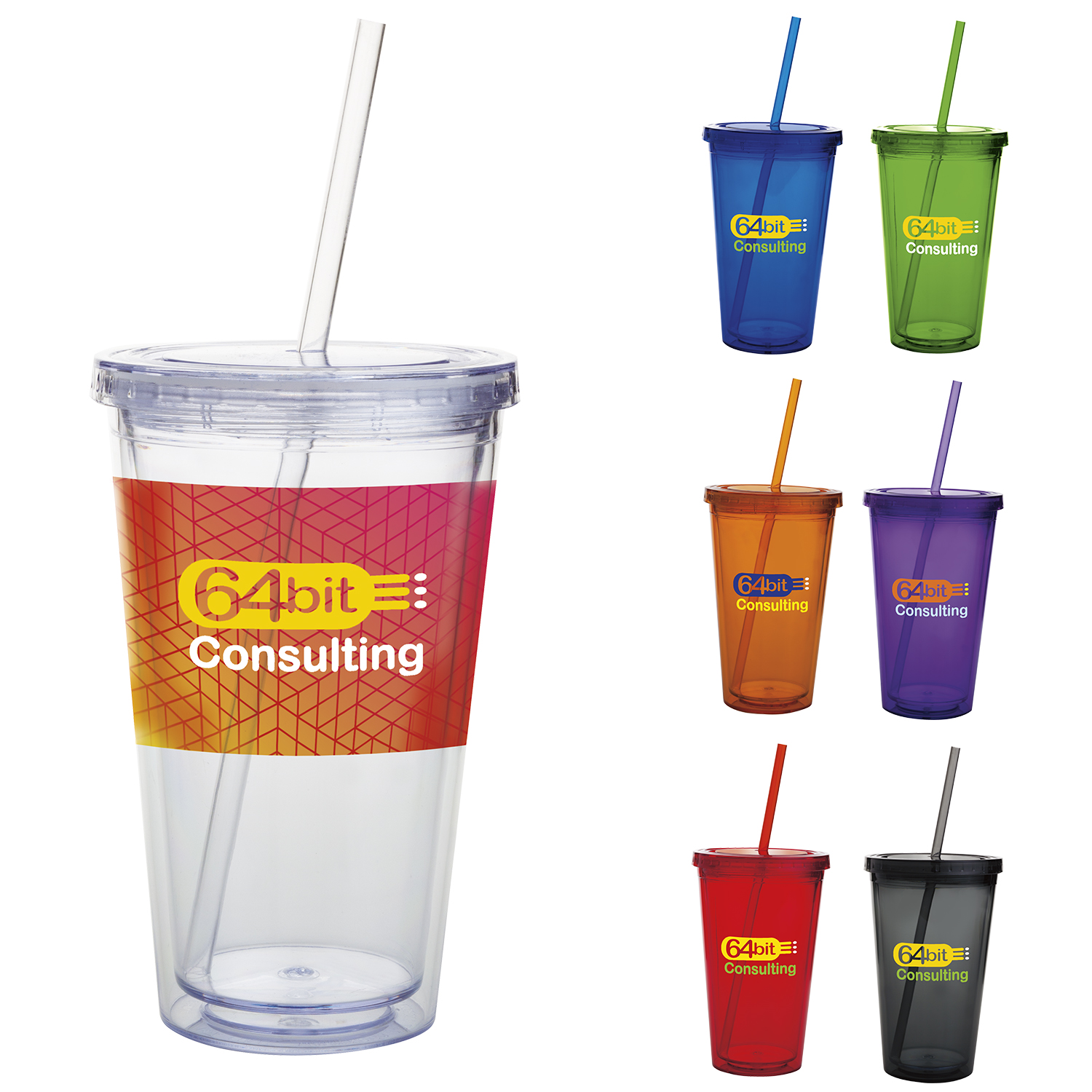 18 Oz. Double Wall Acrylic Tumbler - 1 Colour Imprint