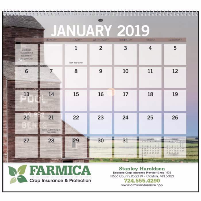 GoodValue Agriculture Small Memo 2020 Calendar, #7601, 1 Colour Imprint