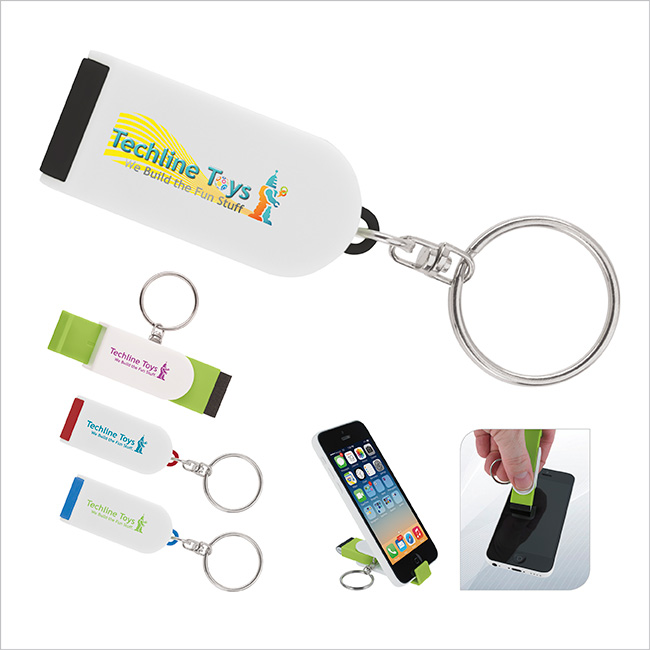 Phone Holder/Screen Cleaner Keychain - 1 Colour Imprint
