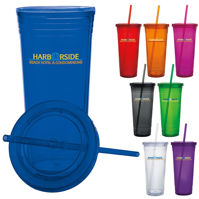 24 Oz. Double Wall Acrylic Tumbler - 1 Colour Imprint
