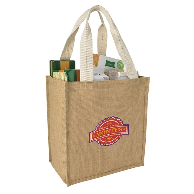 Jute Grocery Tote Bag - 1 Colour Imprint