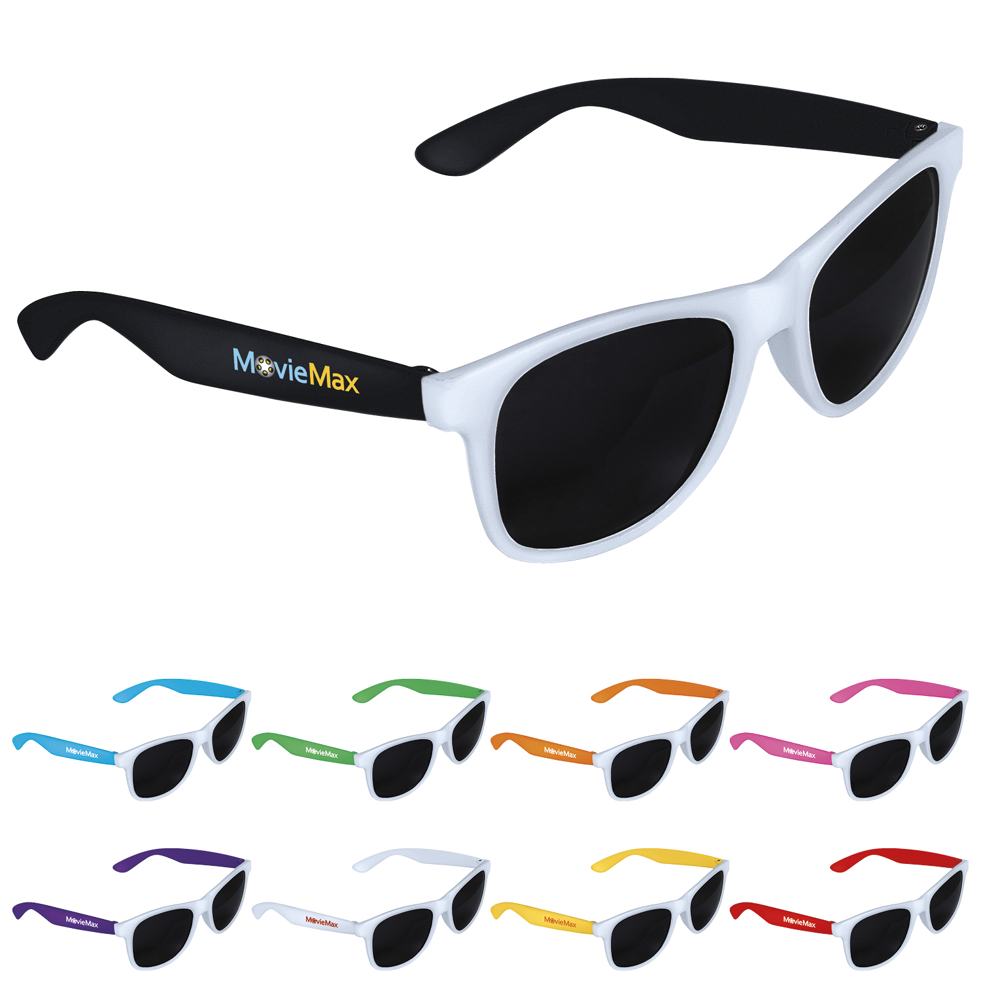 GoodValue 2 Tone White Frame Sunglasses, #26046, 1 Colour Imprint