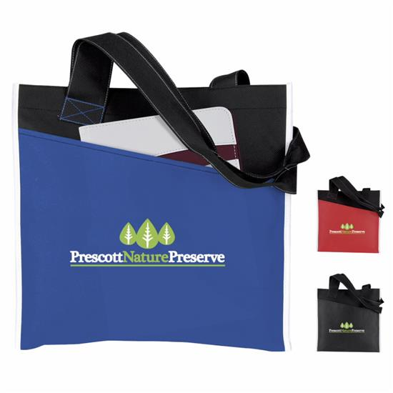 Atchison Angled Pocket Non-Woven Tote Bag - 1 Colour Imprint