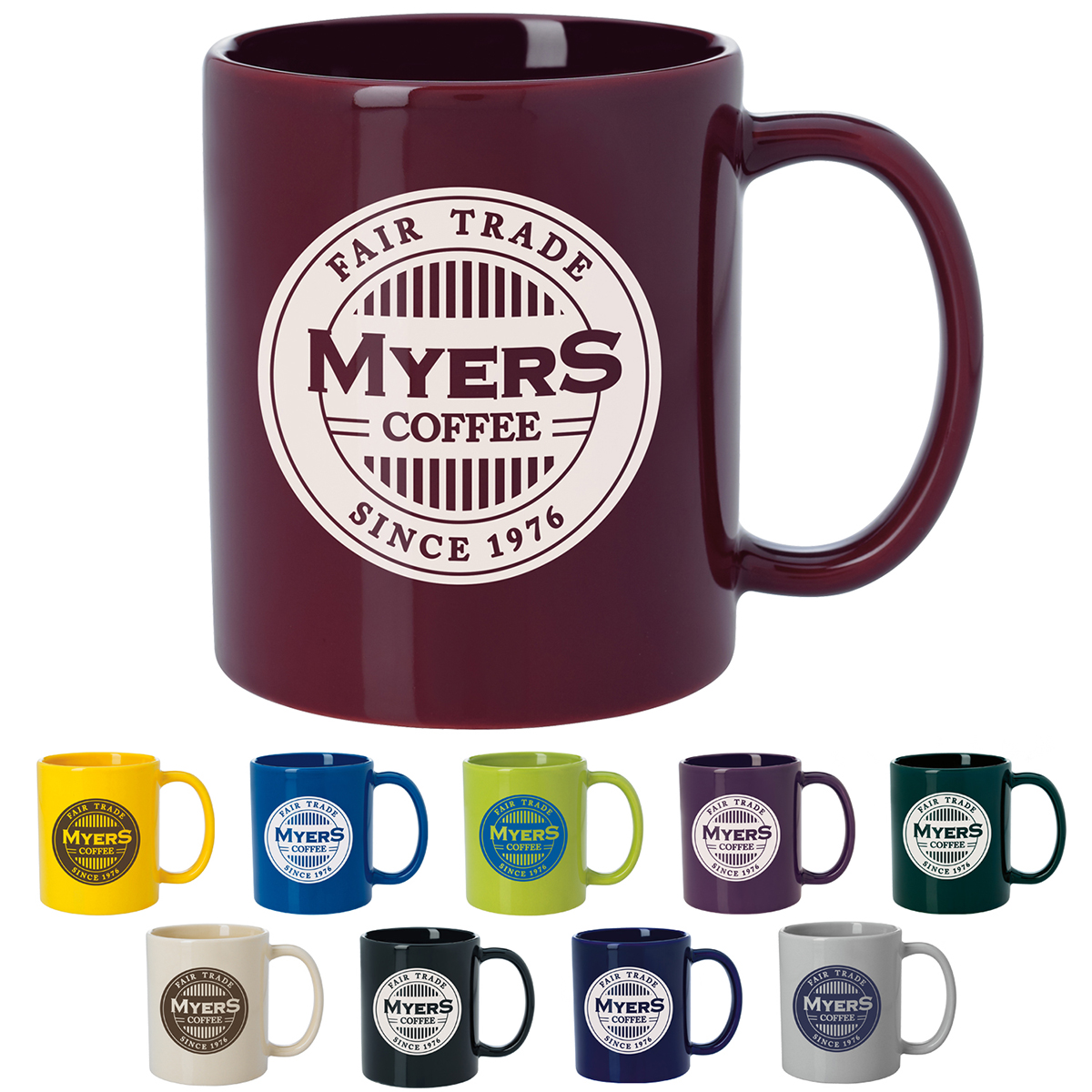 11 Oz. GoodValue Colored Budget Mug, #45140C, 1 Colour Imprint