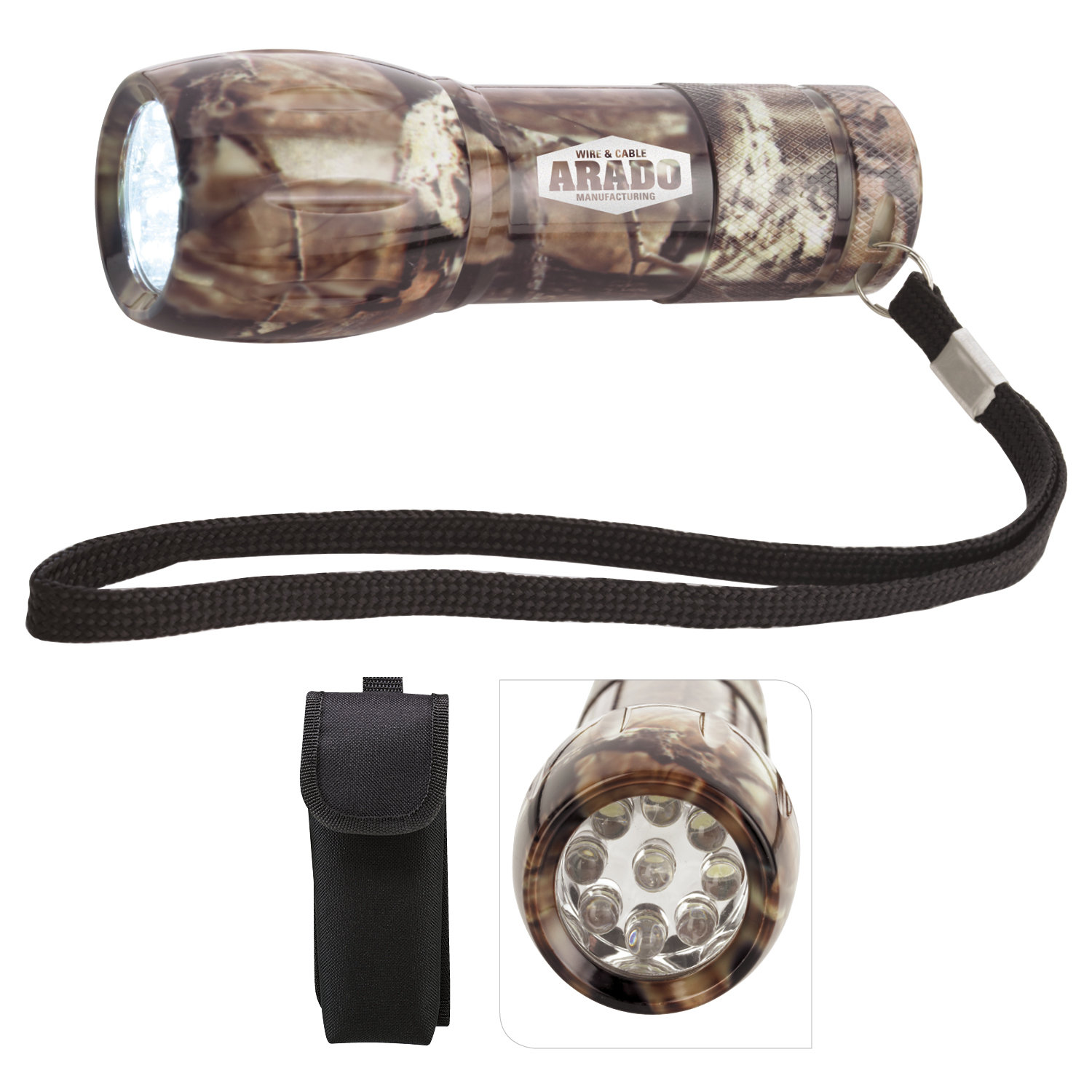 Mossy Oak Camouflage Mini Aluminum LED Flashlight - Laser Engraved Imprint