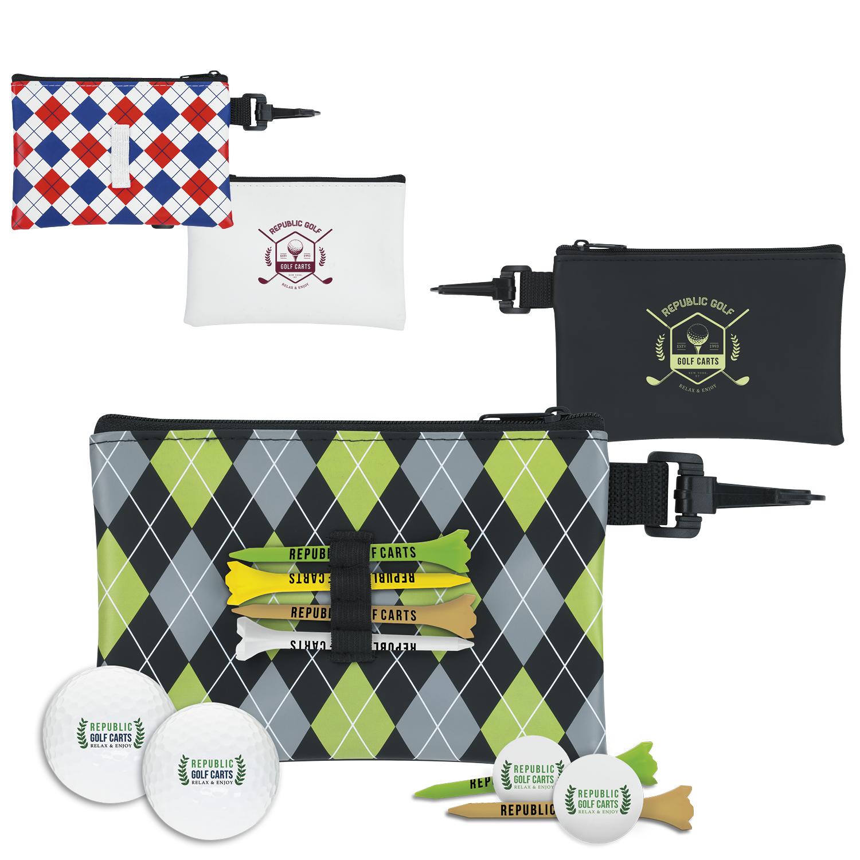 Pattern Golf Pouch Event Golf Kit w/Wilson Ultra 500 Golf Balls, #62339, 1 Colour Imprint