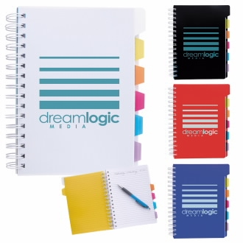 Spiral Notebook w/ Tabs - 1 Colour Imprint