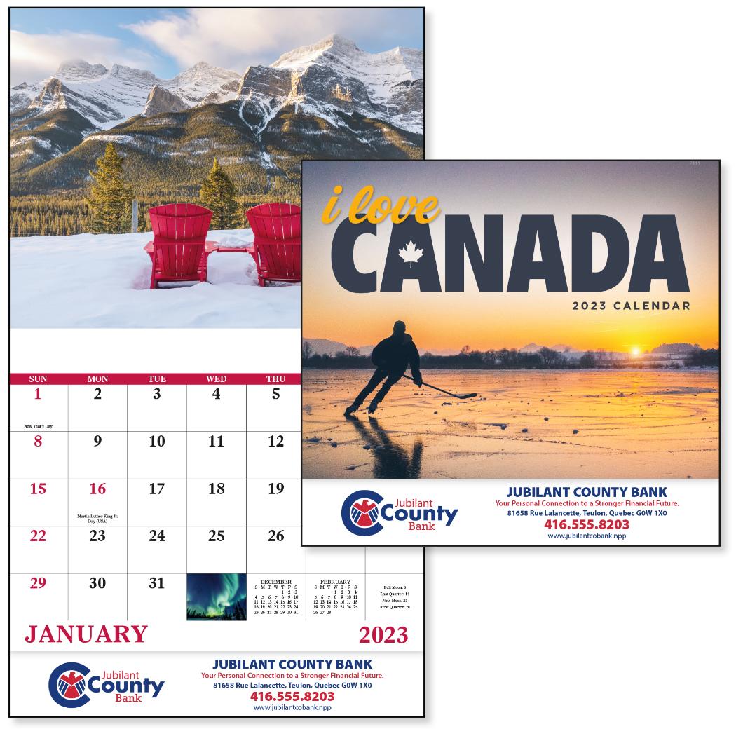 I Love Canada Calendar - Stapled, #7311, 1 Colour Imprint