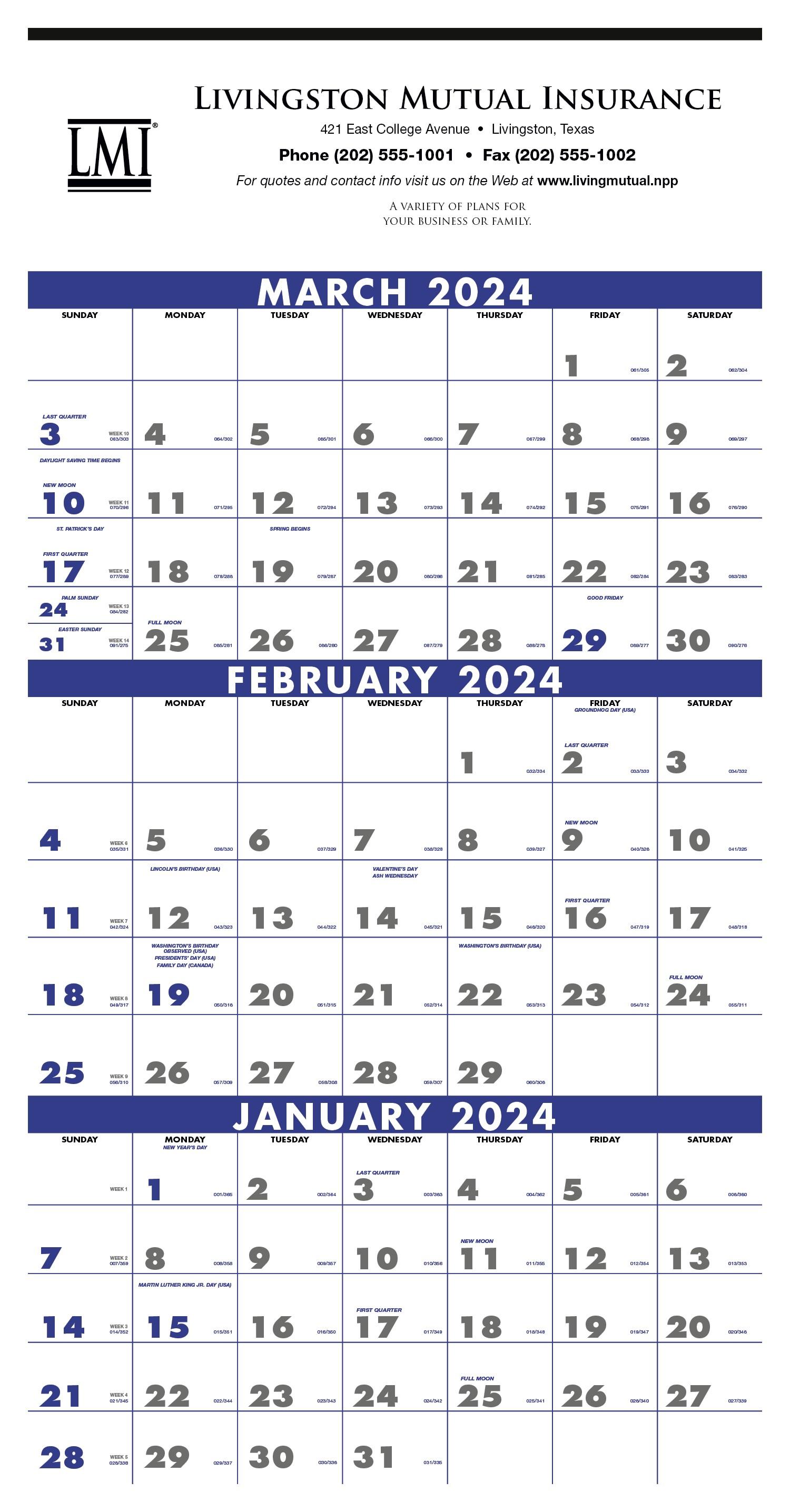 Triumph 3 Month Planner/ 4 Sheet Calendar, #6601, 1 Colour Imprint