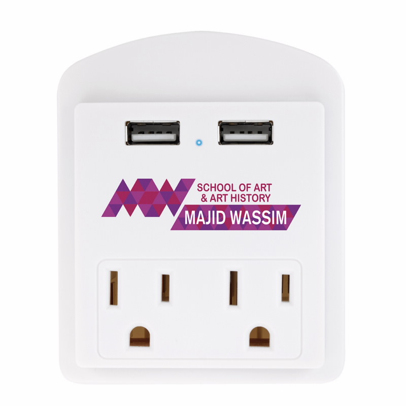 Modern USB Wall Adapter w/Phone Holder - 1 Colour Imprint