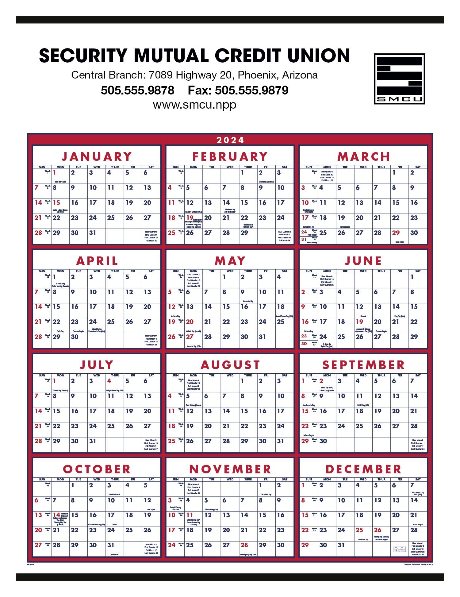 Triumph Span-A-Year Calendar (Red & Blue), #6203, 1 Colour Imprint